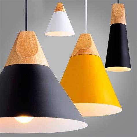 madera moderna luces colgantes lamparas colorido luminaria