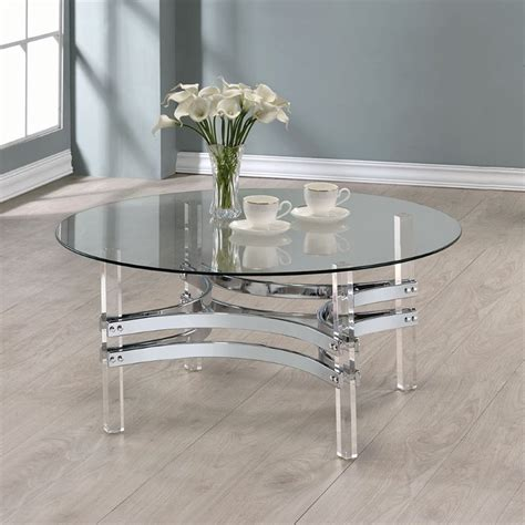 Coaster Glass Coffee Table Coaster Glass Top Coffee Table In Chrome 720708