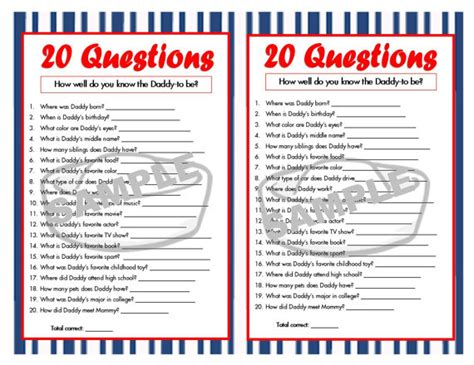 bridal shower 20 questions printable 20 questions nautical printable party game nautical baby