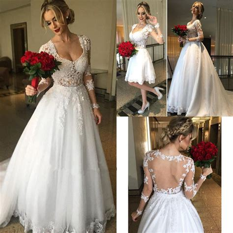 wedding dresses with removable skirts princess lace bridal dress sleeve sheer back
