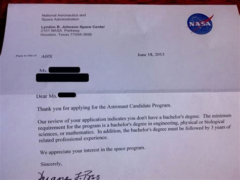 Nasa Response Letter Mentos Nasa Rejection Letter Page 2 Pics About Space