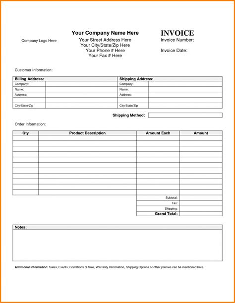 7 blank invoice templates receipt template invoice masir