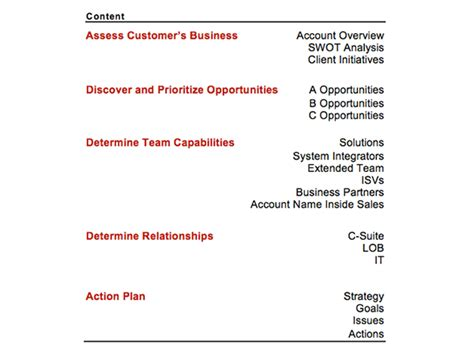strategic account planning template strategic account plan template at four quadrant