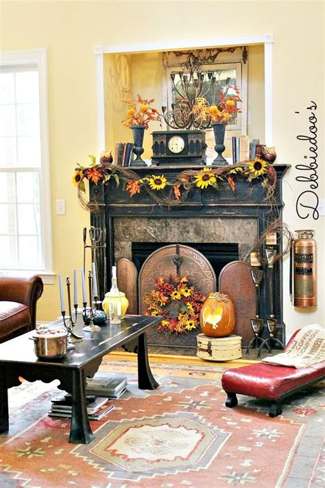 Decorating Ideas In Front Of Fireplace Fall Mantel 2013