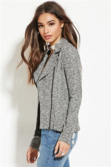 womens knit moto jacket forever 21 marled knit moto jacket in gray lyst