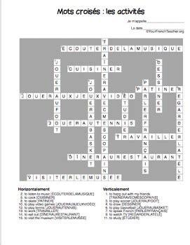 Mots Crois 233 S Les Activit 233 S French Er Verbs 15 Crossword