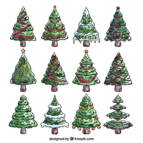 painted hand christmas trees painted trees collection vector free