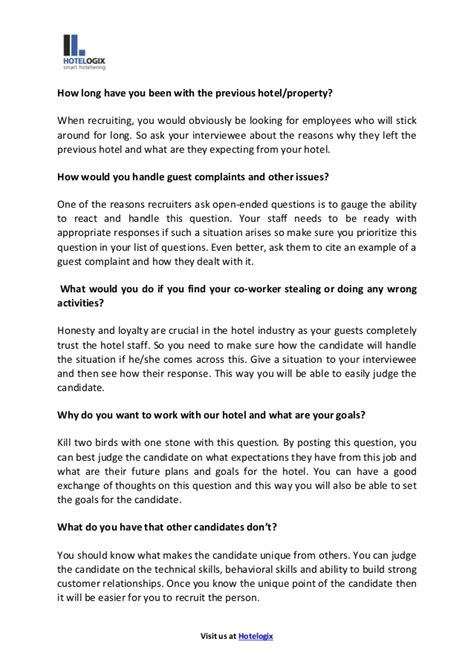 top 6 questions for hotel staff recruitment