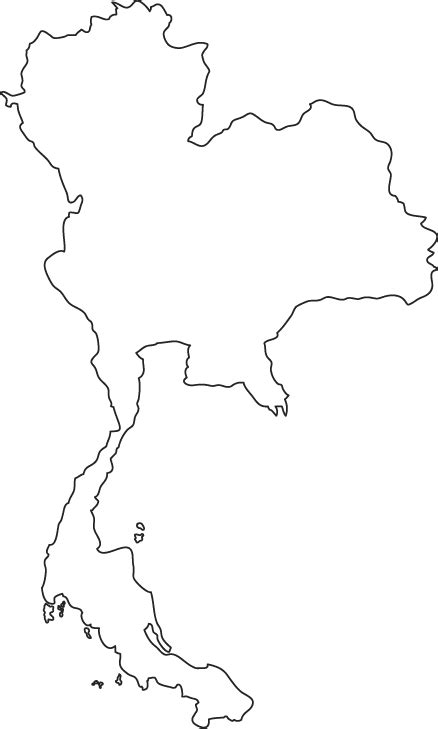 Country Outline by Thailand Map Free Coloring Pages
