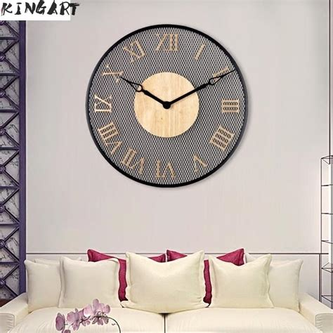 iron simple  wall clock large digital metal wall