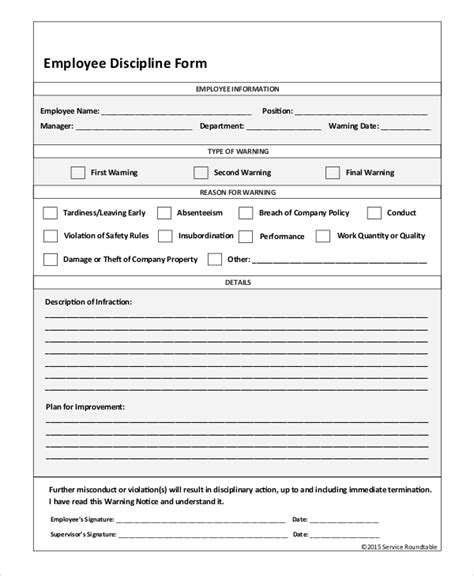 sle employee discipline form 10 exles in pdf word