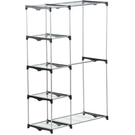 Home Depot Portable Closet by Honey Can Do Rod Freestanding Closet In Chrome Wrd