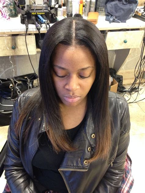 middle part sew in with leave out full sew in weave w middle part leave out hair