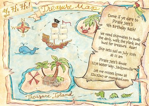 Pirate Treasure Map Invitation Optional Photo 14 00 Via Etsy Let S Party Pinterest Pirate Treasure Map Invitation Template