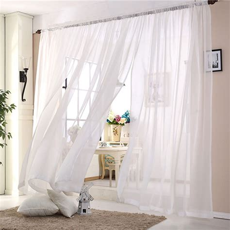 Sheer Kitchen Window Curtains Wedding Ceiling Drapes White Sheer Curtains Window Decoration Voile Curtain 1panel Polyester