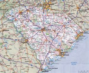 large detailed roads and highways map of south carolina