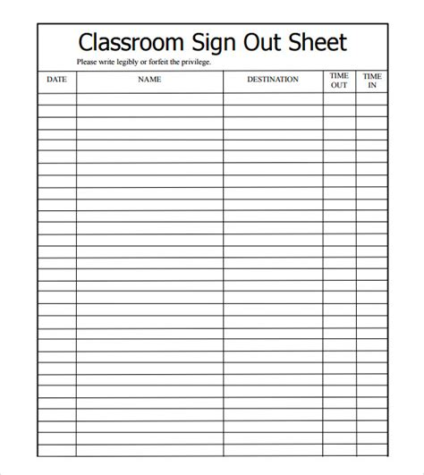template for sign in sheet sle sign out sheet template 8 free documents