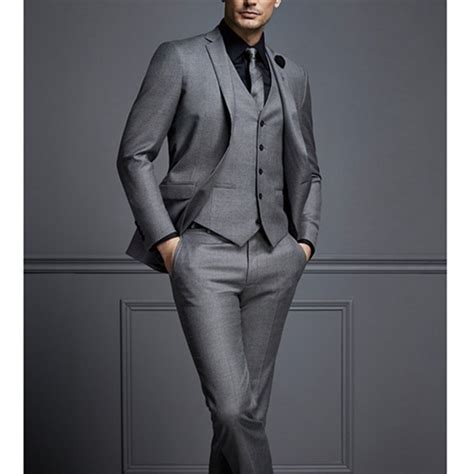 2017 new design black gray two button Groom Tuxedos Best