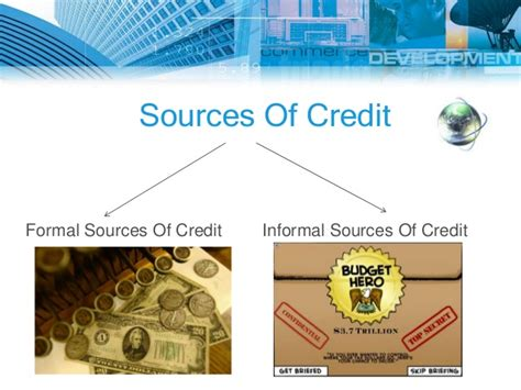 Sources Of Credit Formal And Informal Money And Credits