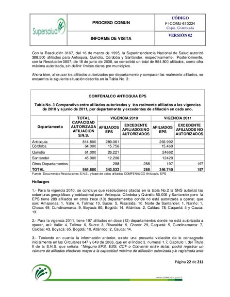 incapacidades medicas cafesalud vlex colombia informe final comfenalco antioquia marzo 2012