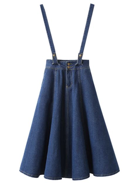 suspender denim skirt blue skirts s zaful