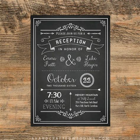 do you invite officiant to wedding reception chalkboard diy reception only invitation template