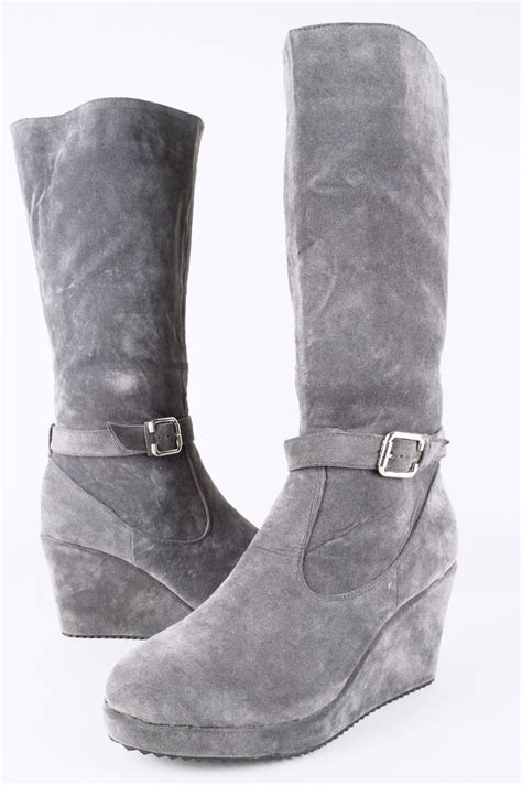 Wedge Mid Calf Boots lms grey suede wedge mid calf boot with buckle