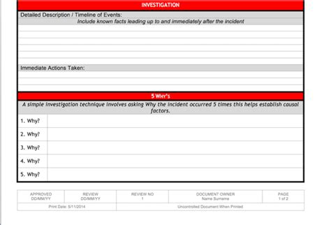 incident investigation template incident investigation template 2 page