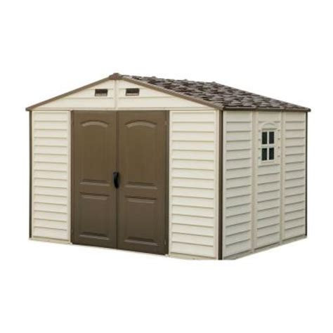 Vinyl Sheds Home Depot by Duramax Building Products Woodside 10 Ft X 8 Ft Vinyl