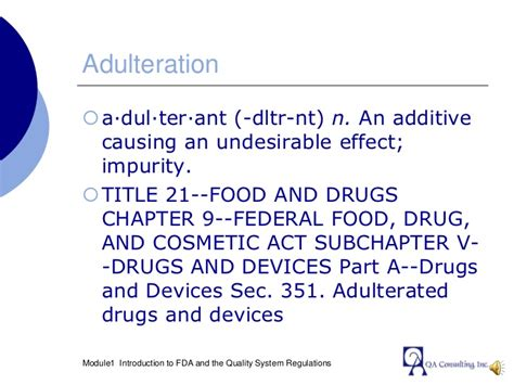section 351 requirements module 01 introduction to fda and quality system regulation