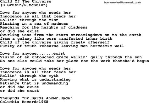 the song child of the universe by the byrds lyrics with pdf