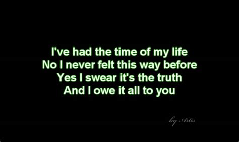 Dirty Dancing Time Of My Life Lyrics | dirty dancing time of my life lyrics youtube