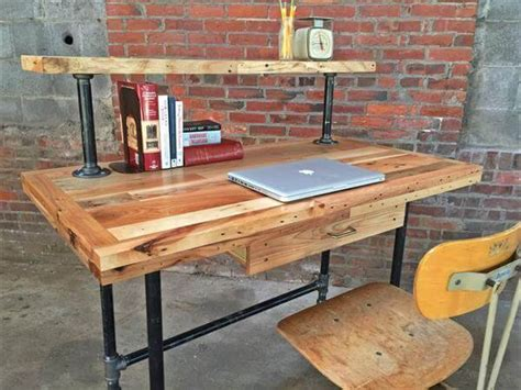 Pallet And Steel Pipe Stand Up Desk Pallet Furniture Diy Diy Metal Desk