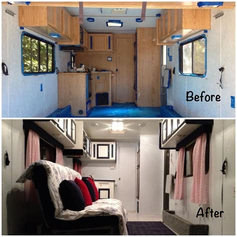 trailer after travel trailer remodel before and after www imgkid