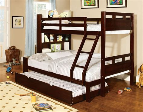 full size bunk beds with trundle fairfield dark walnut twin over full size bunk bed