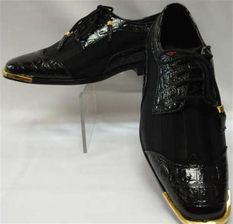 mens cool black wingtip style satin dress shoes