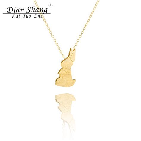 Origami Rabbit Necklace - 2017 easter jewelry luck origami rabbit choker