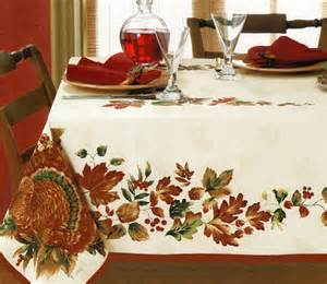 Thanksgiving Table Cloth thanksgiving harvest turkey leaves white damask fall