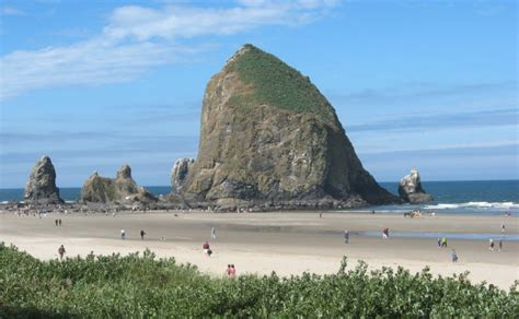 low tide at cannon beach oregon reveals an undersea