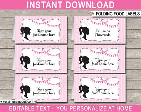 Free Food Cards For Buffet Template by Food Labels Place Cards Theme