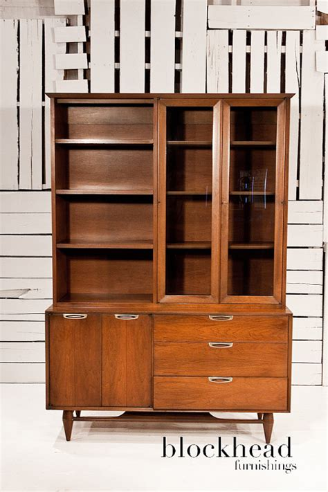 mid century modern walnut china cabinet by