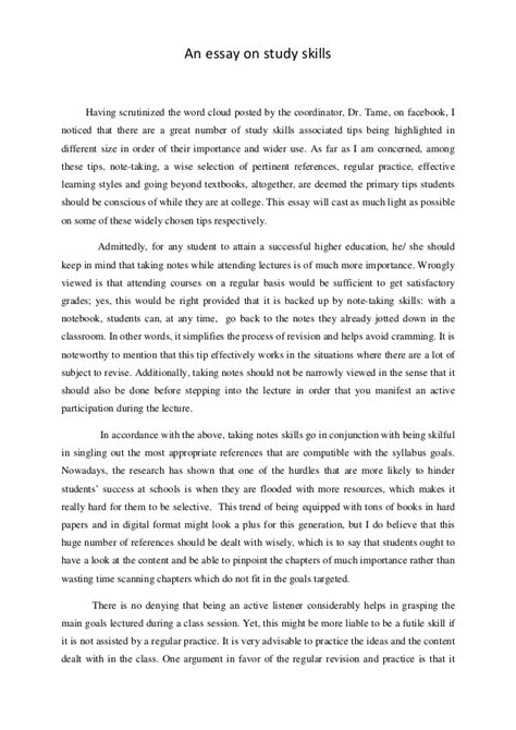 Essay About Skills an essay on study skills