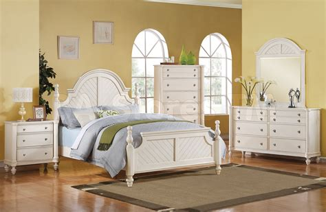 coastal lighthouse 5 pc bedroom set in antique white acme