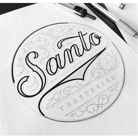 logo sketch logo concept for santo restaurant in rome lines