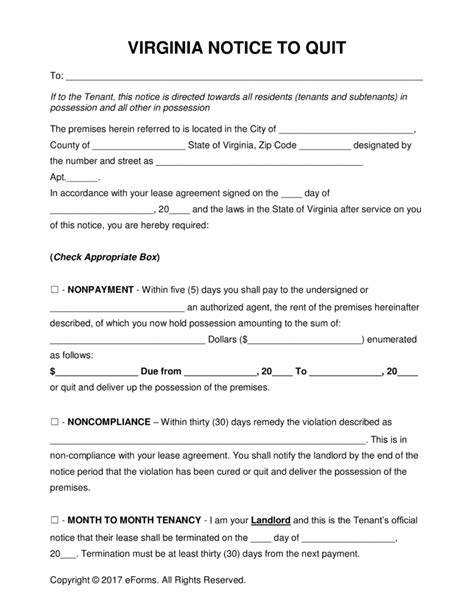 Landlord Lease Termination Letter Virginia Free Virginia Eviction Notice Forms Process And Laws Pdf Word Eforms Free Fillable Forms