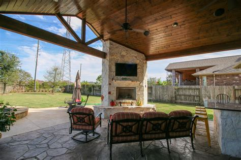 Patio Furniture Katy Tx Patio Cover Kitchen And Fireplace Katy Tx Traditional Patio Houston By Tradition