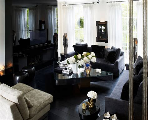 all black living room notting hill townhouse