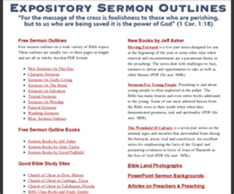 church of christ sermon outlines