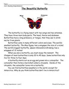 reading comprehension worksheet the beautiful butterfly