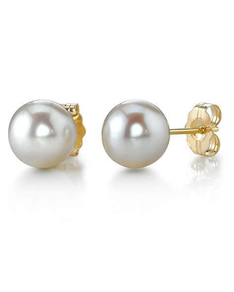 6 0 6 5mm white akoya pearl stud earrings